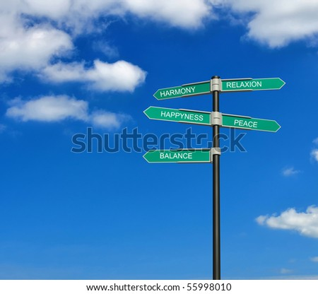 Road sign against the blue sky. Concept. - stock photo