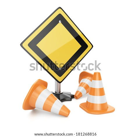 Road sign and traffic cones isolated on white background. 3d rendering image
