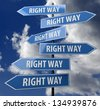road sign blue with words right way on blue sky background - stock photo