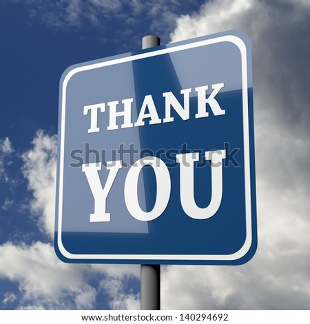 Road sign blue with words thank you on blue sky background - stock photo
