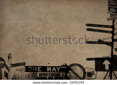 Road Sign Border - stock photo