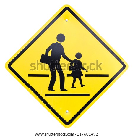 road sign  caution sign - school crossing - stock photo