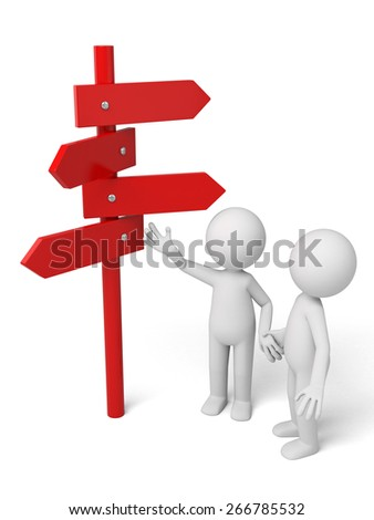 Road sign/3d people talking with a road sign. 3d image. Isolated white background - stock photo