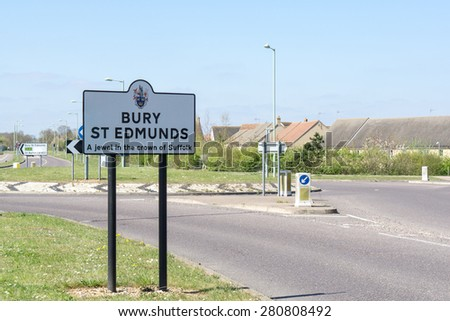 Road sign for Bury St Edmunds, Suffolk, England - stock photo