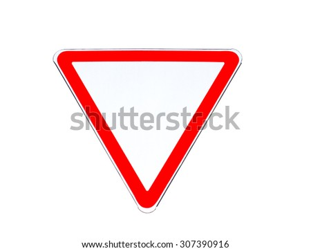 """Road sign """"Give way to traffic on major road (yield)""""  isolated on white background - stock photo"""