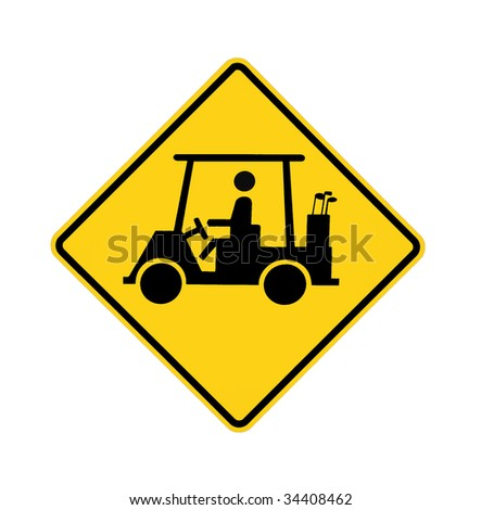road sign - golf cart crossing - stock photo