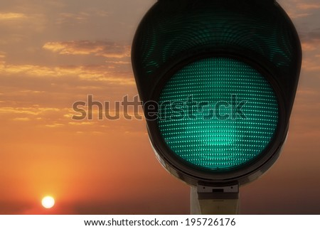 road sign, green light - stock photo