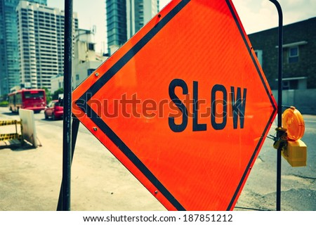 Road sign in a street under reconstruction  - stock photo