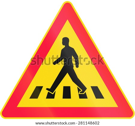 Road sign 151 in Finland - Pedestrian crossing - stock photo