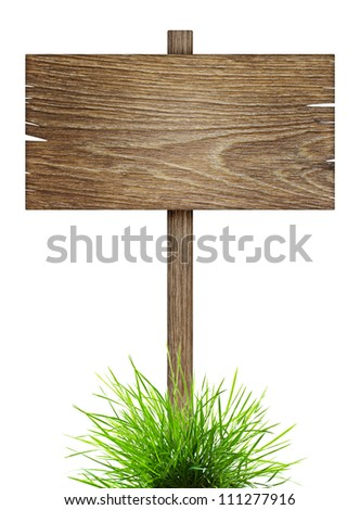 Road sign in green grass isolated on a white background