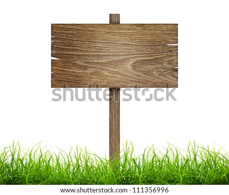 Road sign in green grass isolated on a white background - stock photo