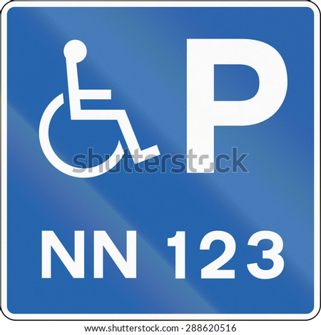 Road sign in Iceland - Disabled Parking with number