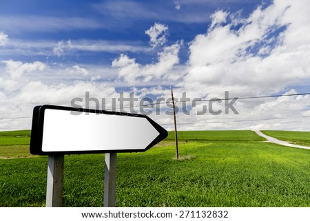 Road sign in idyllic summer field with dandelions and sun in blue sky, lens flare added - stock photo