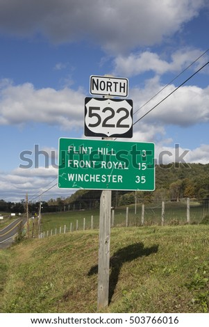 Road sign in Virginia in the countryside