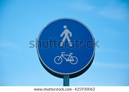 road sign indicating access only to pedestrians and bicycles,road