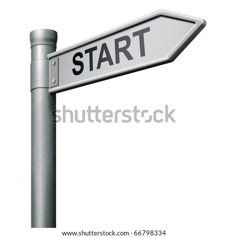 road sign indicating way to the start button start icon begin beginning origin isolated arrow