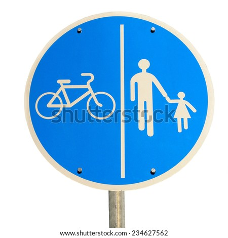 road sign isolated for bikes and pedestrians - stock photo