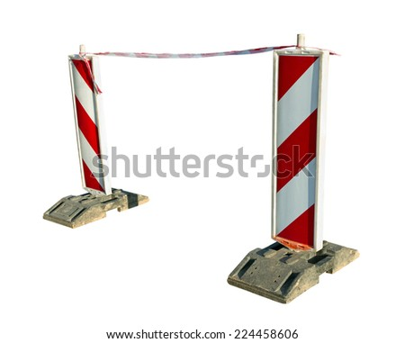 Road sign isolated on white surface. - stock photo