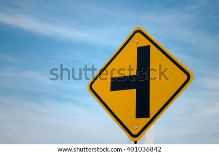 Road sign, Junction Ahead. - stock photo