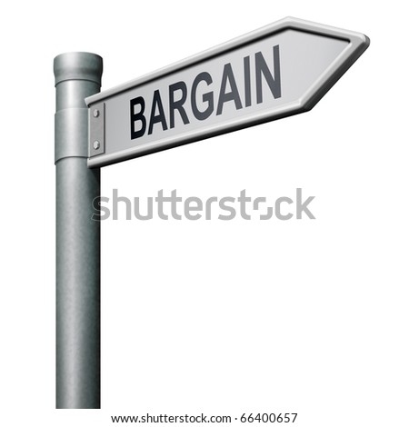 road sign leading to bargain special offer bargain icon bargain button - stock photo