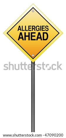 "Road Sign Metaphor with ""Allergies Ahead"" - stock photo"