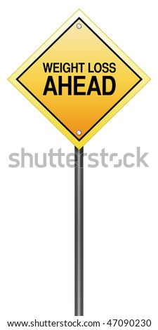 "Road Sign Metaphor with ""Weight Loss Ahead"" - stock photo"