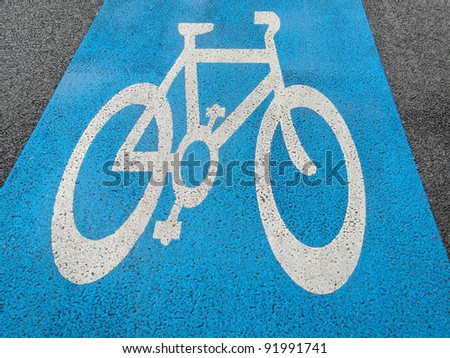 Road sign of bike or bicycle lane - stock photo