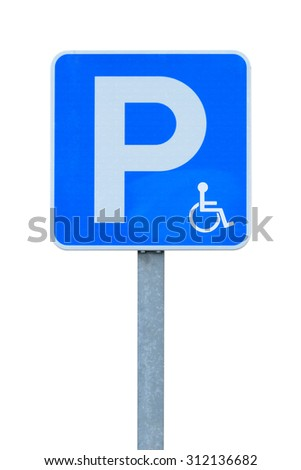 road sign parking for disabled isolated on white background - stock photo