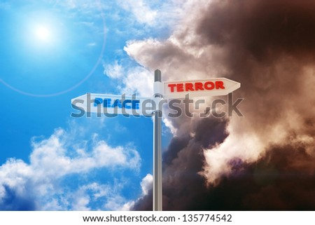 "Road sign ""Peace-Terror"" against a contrast sky - stock photo"