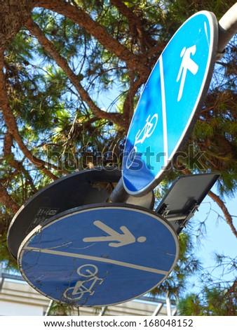 road sign pedestrian and bicycle path. - stock photo