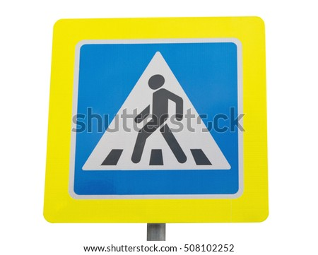 Road sign pedestrian transit isolated on white background