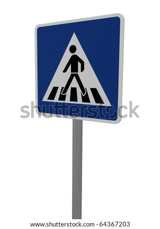 road sign people crossing road on white background - 3d illustration