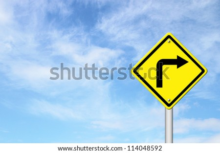Road Sign - Right Turn Warning with blue sky blank for text - stock photo