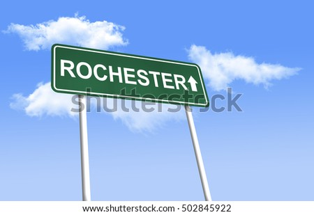 Road sign - Rochester. Green road sign (signpost) on blue sky background. (3D-Illustration)