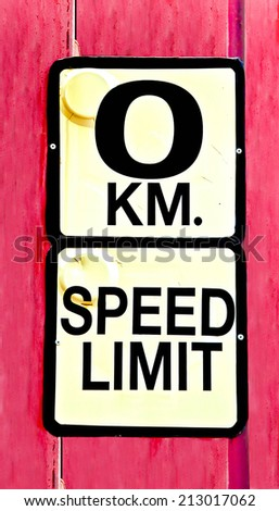 Road sign speed limit zero - stock photo