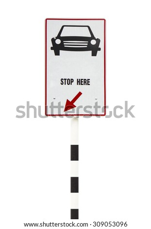 Road, sign stop car isolated on white background. - stock photo