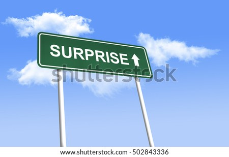 Road sign - Surprise. Green road sign (signpost) on blue sky background. (3D-Illustration)