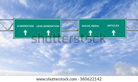 Road sign to e-marketing