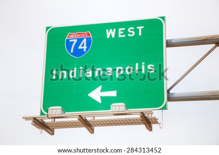 Road sign to Indianapolis at the interstate highway