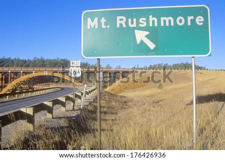 Road Sign to Mount Rushmore National Monument Near Rapid City, South Dakota - stock photo