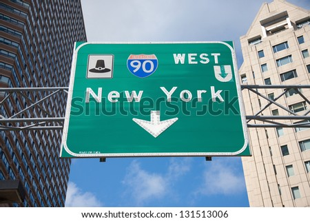 Road sign to New York City, via Interstate 90, Boston, MA