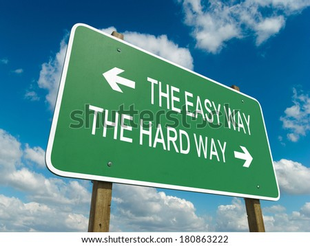 Road sign to the easy way - stock photo