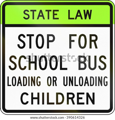Road sign used in the US state of Virginia - Stop for school bus. - stock photo