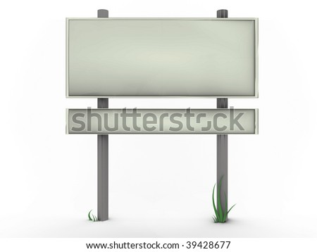 Road sign with grass - 3d image