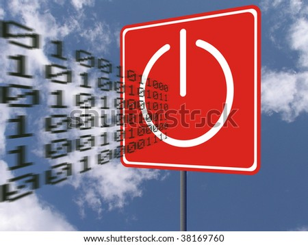 Road sign with power-off icon stops flying binary code over blue sky with clouds. Concept - technologies and nature - stock photo