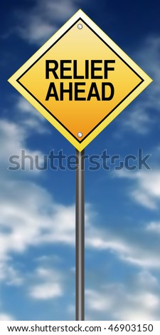 Road Sign with Relief Ahead - stock photo