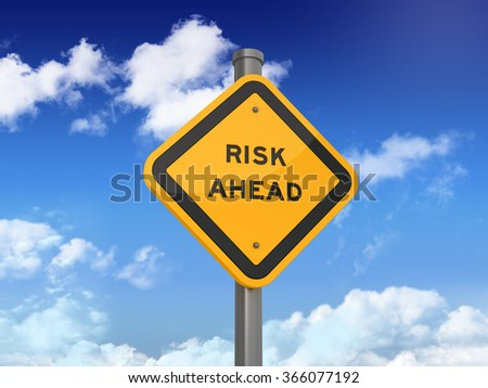 Road Sign with RISK AHEAD Text on Blue Sky and Clouds Background - High Quality 3D Rendering - stock photo