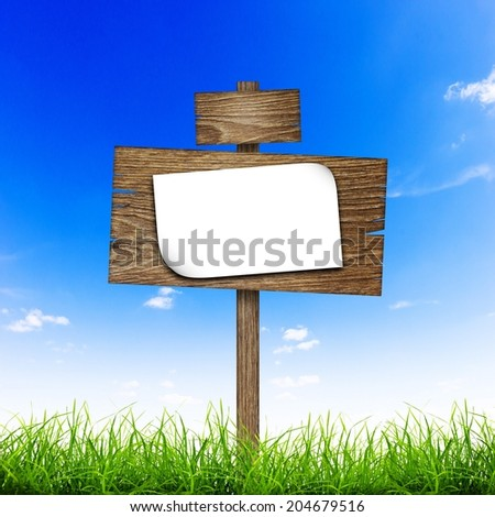 Road sign with sheet of paper in green grass over blue sky background - stock photo