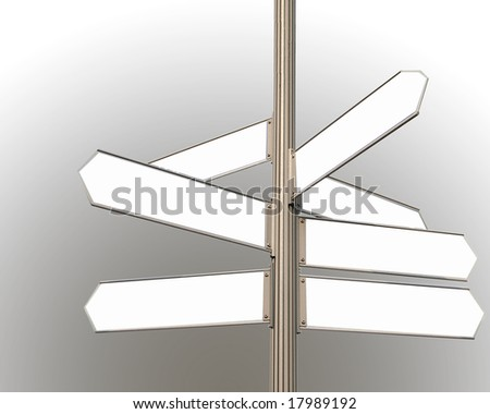 road signs blank directions for many uses - stock photo