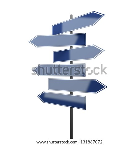 road signs blue isolated on white background - stock photo